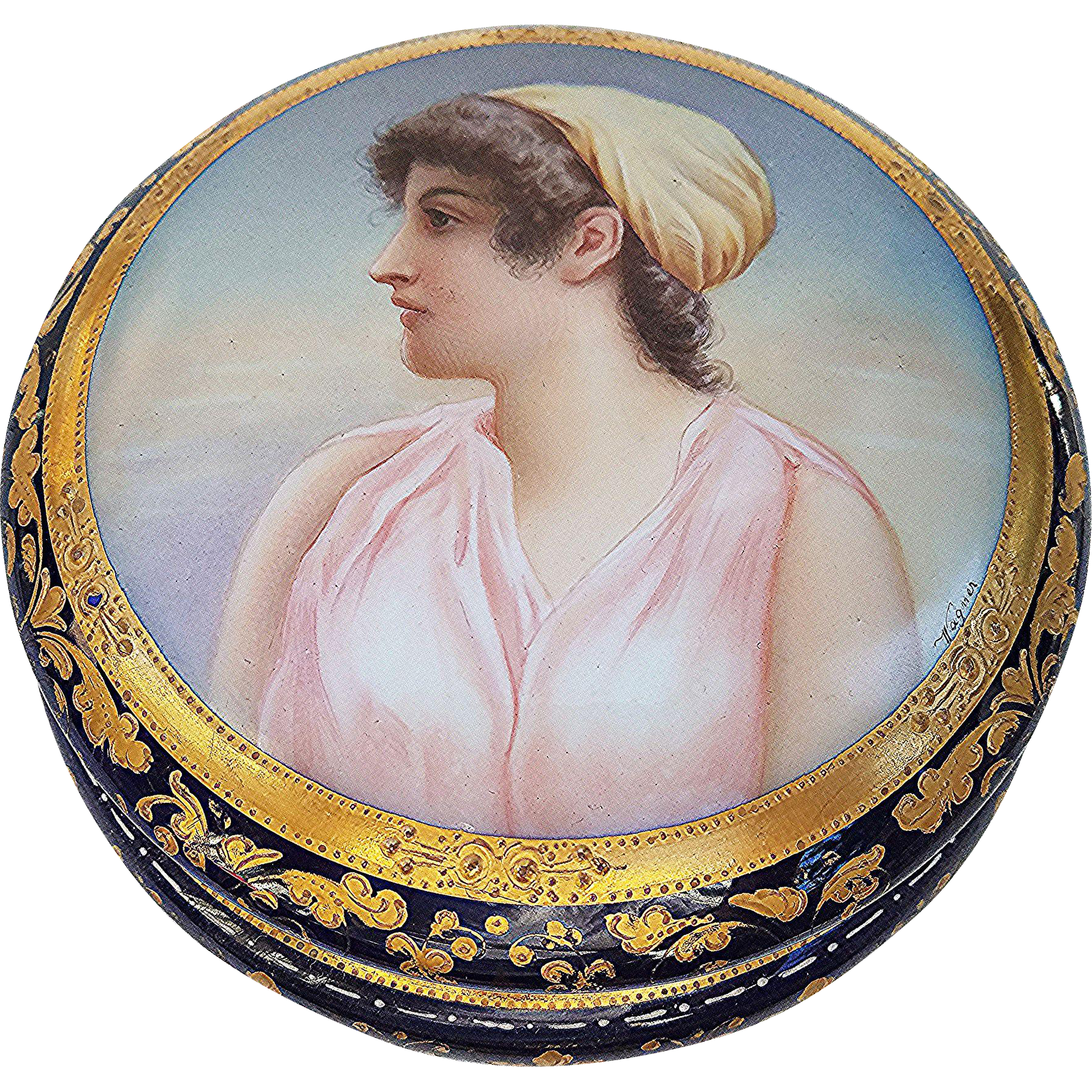 """Museum Quality 6"""" Royal Vienna 1900's Hand Painted """"Portrait of Aeuone"""" Gorgeous Dresser Casket Box by the Artist, """"Wagner"""""""