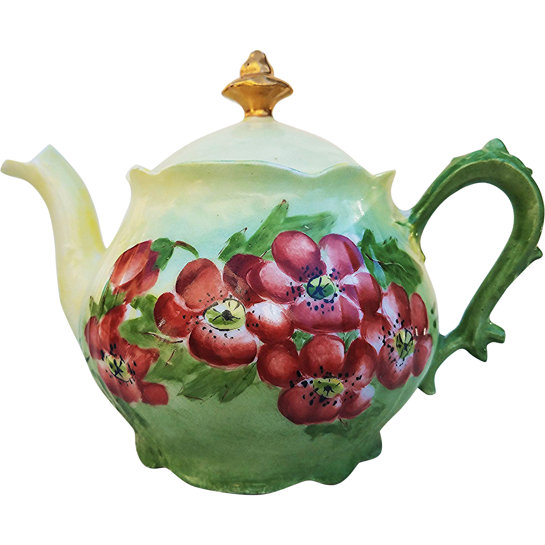 "Beautiful  Vibrant Vintage Bavaria 1900's Hand Painted ""Burnt Orange Poppy"" Floral Tea Pot by Artist, ""F. Sugg"""