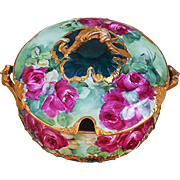"Fabulous CFH GDM Limoges France 1900's Hand Painted Vibrant ""Deep Red Roses"" Floral Tureen"