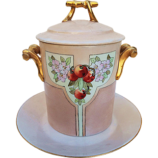 """Vintage GDA France 1900's Hand Painted Conventionalize """"Cherry & Cherry Blossom"""" Floral Milk Condenser & Saucer by the Artist, """"Lers"""""""