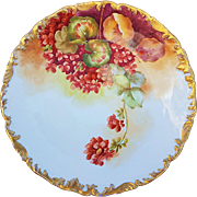 "Gorgeous T & V Limoges France 1900's Hand Painted ""Red Geraniums"" 9-1/2"" Rococo Style Floral Plate by French Artist, ""Reynoud"""