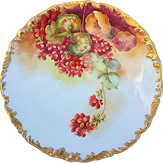 """Gorgeous T & V Limoges France 1900's Hand Painted """"Red Geraniums"""" 9-1/2"""" Rococo Style Floral Plate by French Artist, """"Reynoud"""""""