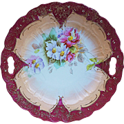 "Gorgeous RS Prussia Pre-1900 Hand Painted ""Red & Light Lavender Pansy"" 9-1/2"" Floral Plate"