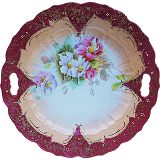 """Gorgeous RS Prussia Pre-1900 Hand Painted """"Red & Light Lavender Pansy"""" 9-1/2"""" Floral Plate"""