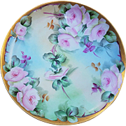 "Beautiful Haviland France 1900's Hand Painted ""Pink Roses"" 7-1/2"" Floral Plate by the Artist, ""H.R. Baker"""