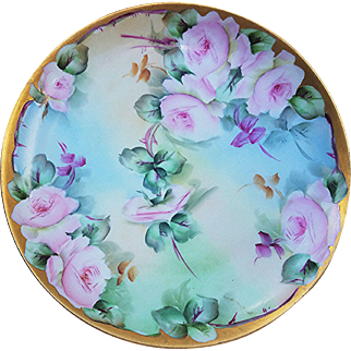 """Beautiful Haviland France 1900's Hand Painted """"Pink Roses"""" 7-1/2"""" Floral Plate by the Artist, """"H.R. Baker"""""""
