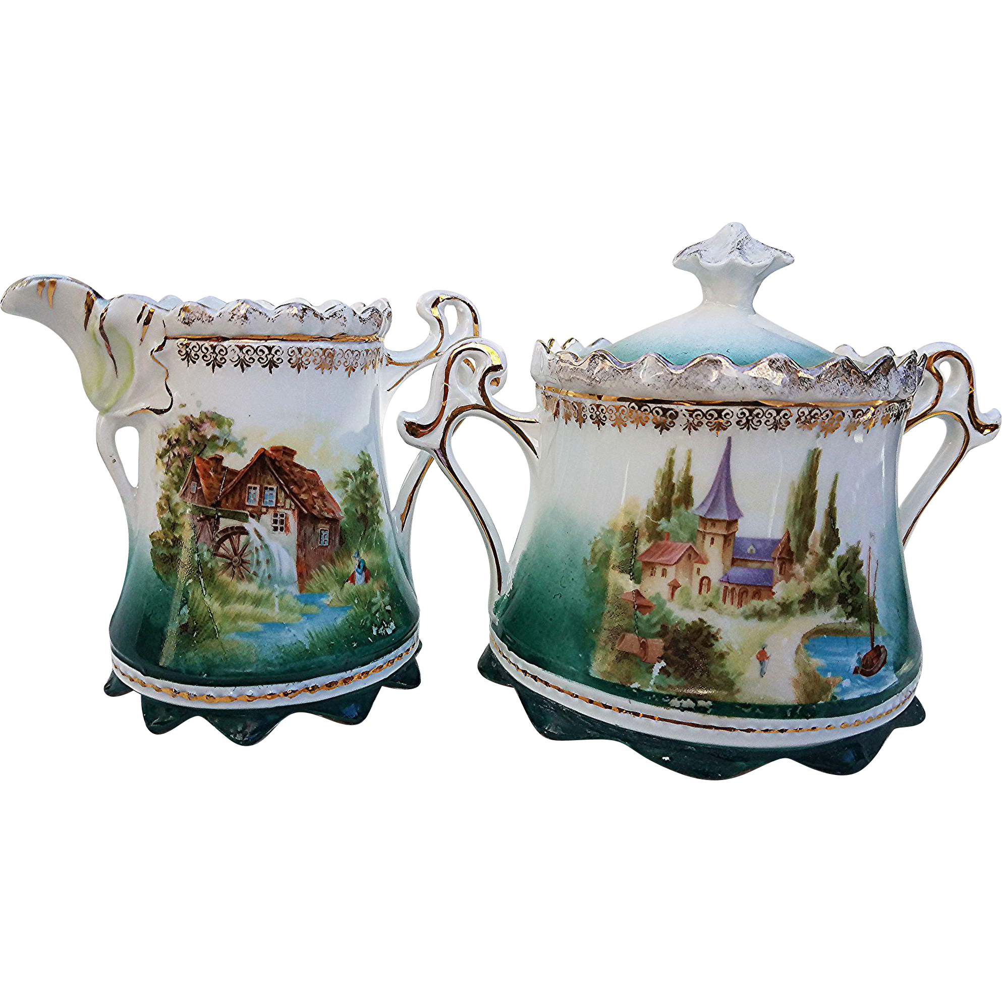 "Gorgeous RS Prussia 1900's ""Double Scenic Mill & Castle"" Sugar & Creamer"