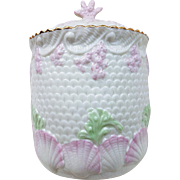 "Gorgeous Irish Belleek 1900's ""Shell & Coral"" 7-3/4"" Biscuit Jar Green Mark"
