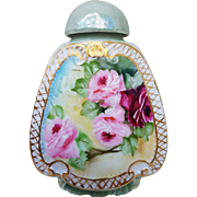 "Attractive Haviland France 1900's Hand Painted ""Deep Red & Pink Roses"" Perfume Bottle"