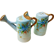 "Vintage O.E. & G. Royal Austria 1900's Hand Painted ""Forget Me Not"" Watering Can Floral Salt & Pepper Shakers"