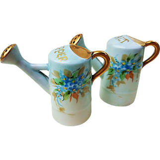 """Vintage O.E. & G. Royal Austria 1900's Hand Painted """"Forget Me Not"""" Watering Can Floral Salt & Pepper Shakers"""