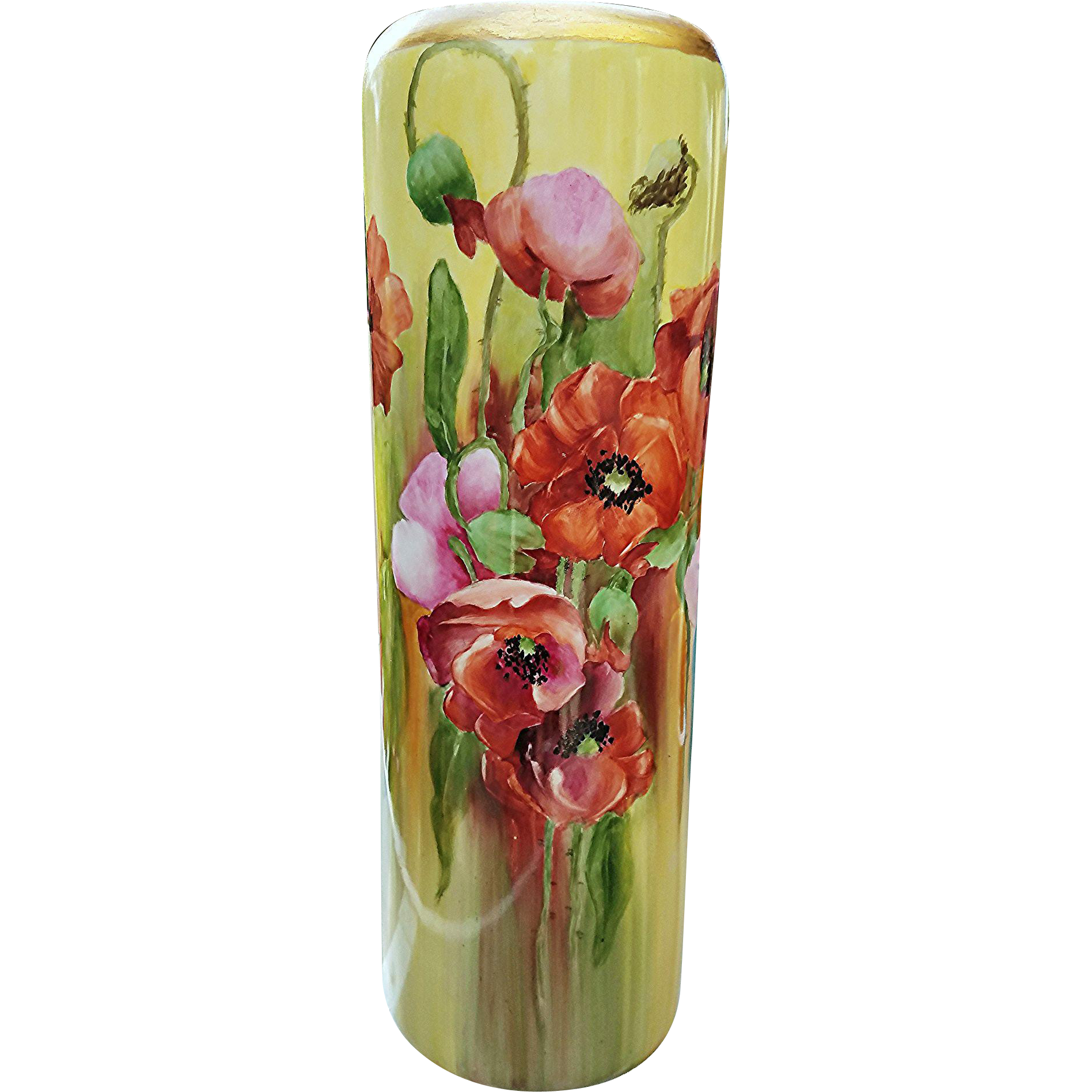 "Gorgeous Vintage O.E. & G Vienna Austria 1900's Hand Painted ""Burnt Orange, Pink, & Purple Poppy"" 14-1/2"" Floral Vase by the Artist, ""L.Q."""