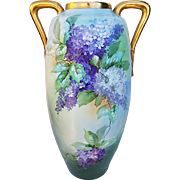 "18"" Fabulous Austria 1900 Hand Painted ""Purple & White Lilacs"" Floral Vase by the Artist, ""G. Glowienke"""