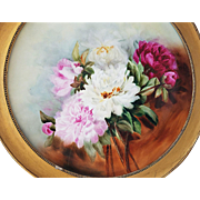 "18-3/4"" Fabulous Vintage J.P.L France Limoges 1900's Hand Painted ""Red, Pink, & White Roses"" Floral Plaque"
