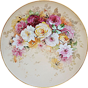 "16"" Beautiful Vintage J.P.L France Limoges 1900's Hand Painted ""Red, Pink, Yellow, & White Roses"" Floral Plaque"