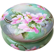 "Beautiful T & V Limoges France 1900's Hand Painted ""Lenten Roses"" 6"" Floral Dresser Box"