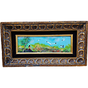 "Gorgeous ""Children & Sea Gulls By the Shore"" 17"" Enamel Copper Plaque"
