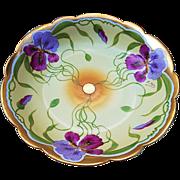 "Stunning T & V Limoges France & J.H. Stouffer Studio of Chicago 1906 Hand Painted ""Purple & Lavender Iris"" 9-3/4"" Floral Bowl by Listed Artist, ""Ernest Feix"""