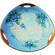 "Striking 1915 Hand Painted ""Forget Me Not"" Floral 3-Handle Bon-Bon Dish by Early Listed Chicago Artist, ""Elsie Bieg"""
