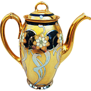 "Magnificent Pickard Studio of Chicago 1910 Hand Painted ""Aura Mosaic"" 9"" Floral Tea Pot by Artist, ""Carl Roessler"""