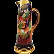 "Fabulous Limoges France & Pickard Studio of Chicago 1898 Hand Painted ""Grape Clusters"" 14-1/2"" Fruit Tankard by Artist, ""Erhardt Seidel"""