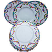 """Royal Worcester 1891 Set of 8 Hand Painted """"Chain of Petite Pink, Lavender, & Yellow Enamel Roses"""" Floral 10-1/2"""" Dinner Plates"""