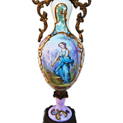 """Beautiful Sevres 1850's Gilt Bronze Ormolu Hand Painted """"Portrait of A Lady"""" & Scenic 8-1/8"""" Urn by the French Artist, """"MAX"""""""