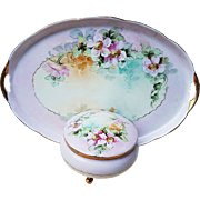 "Gorgeous Vintage Austria 1900's Hand Painted ""Wild Pink Roses"" Floral Dresser Set"