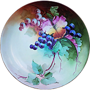 """Beautiful JR Hutschenreuther Selb Bavaria 1900's Hand Painted """"Red & Purple Grapes"""" 9-1/4"""" Plate by Early Chicago Decorator, """"Minnie Perl"""""""