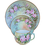 """Paul Putzki"" Bavaria 1900 Hand Painted ""Pink Roses"" Floral Cup, Saucer, & Lunch Plate Set"