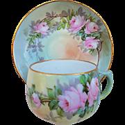 """Paul Putzki"" Austria 1900 Hand Painted ""Pink Roses"" Floral Cup & Saucer Set"