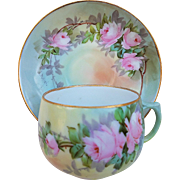 """Paul Putzki"" Austria 1900 Hand Painted ""Pink Roses"" Floral Cup & Saucer Set"