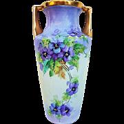 "Gorgeous Vintage C.T. Altwasser Silesia Germany 1900's Hand Painted ""Violets"" 10-3/8"" Floral Vase"
