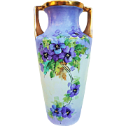 "Gorgeous Vintage C.T. Altwasser Silesia Germany 1900's Hand Painted ""Violets"" 10-3/8"" Floral Vase"