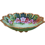"Charming Vintage 1900 Havilland France Hand Painted ""Pink Pansy"" Fancy Scallop Footed Bowl"