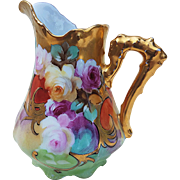 """Spectacular Omhe Germany & Pickard Studio of Chicago 1903 Hand Painted Vibrant """"Red, Pink, & Yellow Roses"""" Floral Cream Pitcher"""