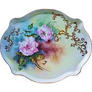 "Beautiful & Stunning Limoges France 1900's Hand Painted ""Pink Carnation"" 15-3/4"" Floral Tray"