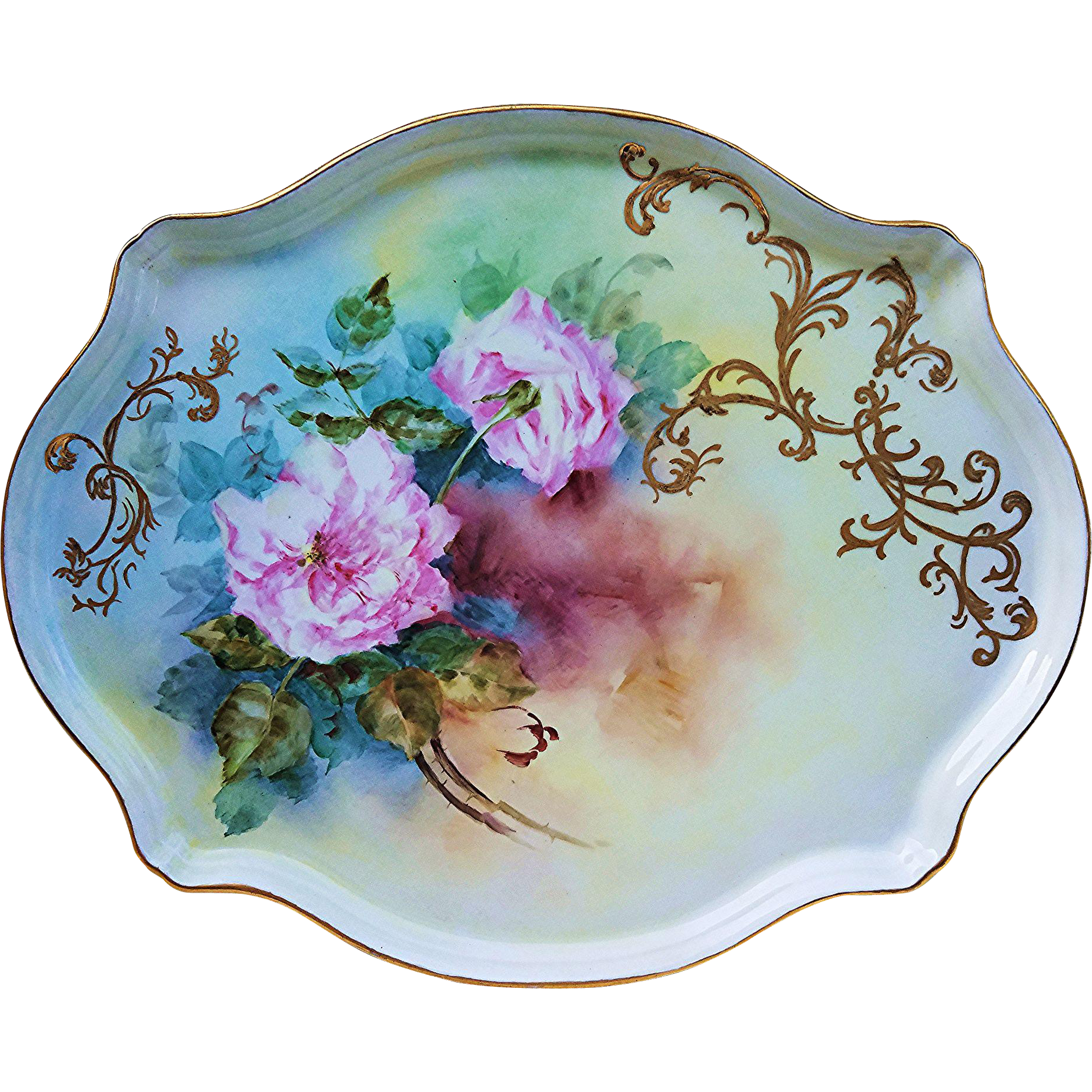 """Beautiful & Stunning Limoges France 1900's Hand Painted """"Pink Carnation"""" 15-3/4"""" Floral Tray"""