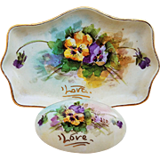 """Beautiful Weisley China Co. 1930's Hand Painted """"Purple & Yellow Pansy"""" Matched Dresser Box & Tray Inscribed """"Love"""" by the Artist, """"LEO"""""""