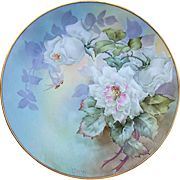 """Paul Putzki, Vintage Early 1900's, Rare """"White Roses"""" Floral Plate"""