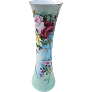 "Beautiful Bavaria Vintage 1900's Hand Painted ""Red, Pink, & Yellow Roses"" 11-3/8"" Corset Floral Vase by the Artist, ""F.H. Jarvis"""