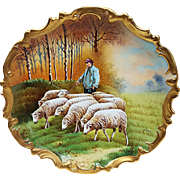 "Gorgeous Limoges France Blakeman & Henderson 1900's Hand Painted ""Sheepherder Herding His Flock"" 12-1/2"" Rococo Scenic Charger by French Artist, ""Baumy"""