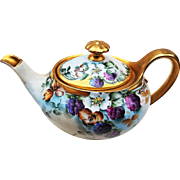 "Beautiful Bavaria 1907 Han Painted ""Blackberry"" Fruit Decor Tea Pot by the Artist, ""L. Davis"""