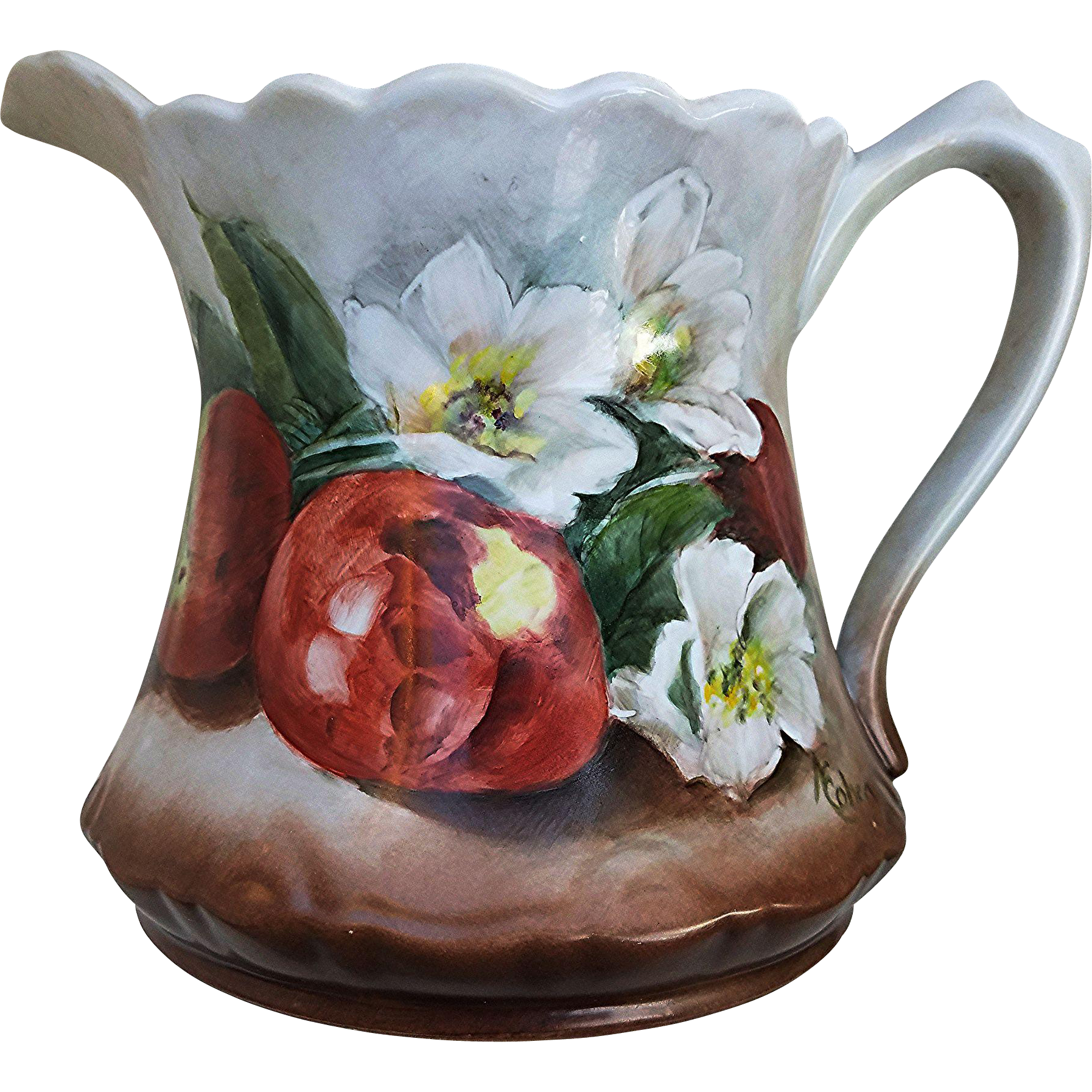 "Gorgeous 1900's Vintage Bavaria Hand Painted ""Apple Blossoms & Apples"" Fruit Decor 7-1/4"" Cider Pitcher by the Artist, ""K. Cohen"""