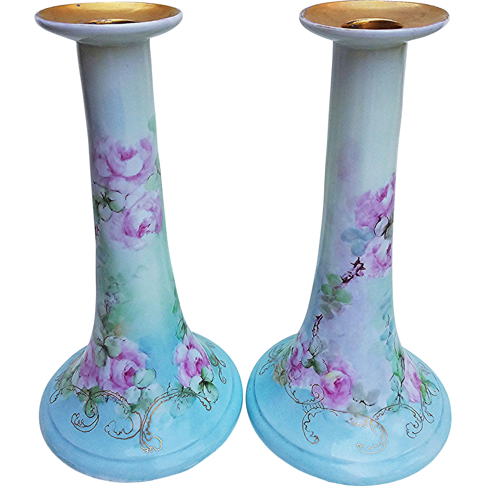 "Exceptional & Large 10-3/4"" Bavaria 1900's Hand Painted Pair of ""Pink Roses"" Candlestick Holders by the Artist, ""M. Holloway"""