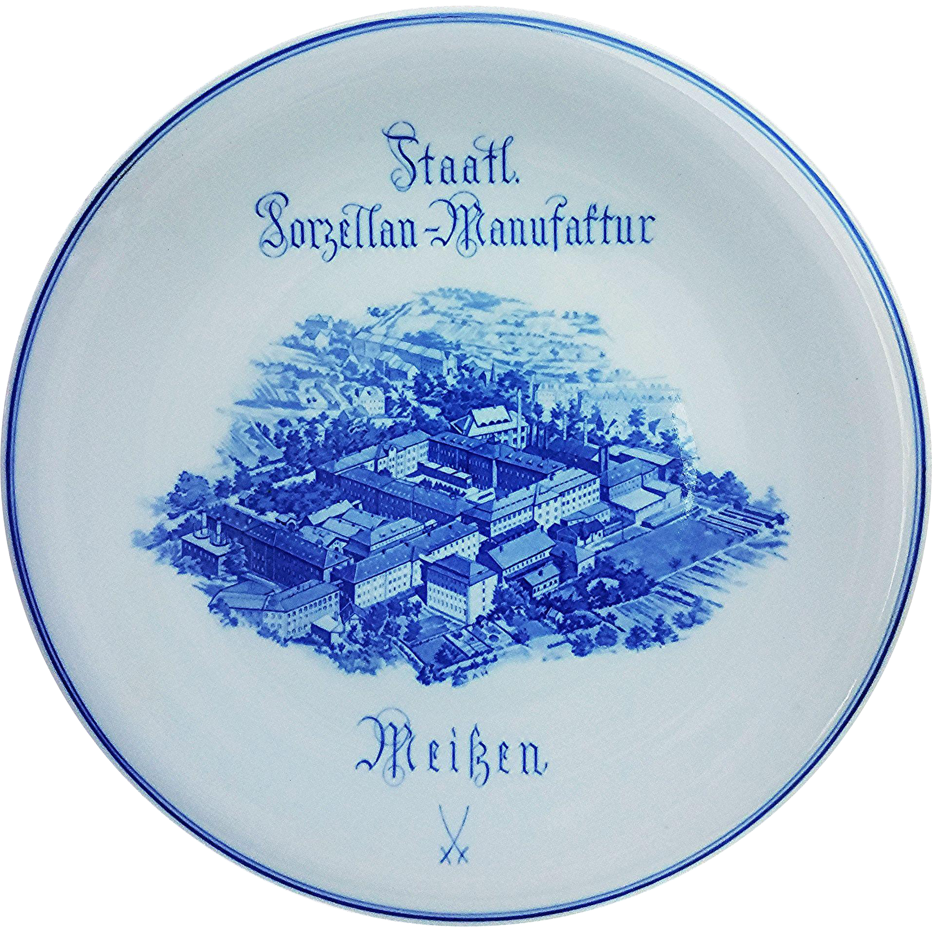 "Wonderful Meissen 1900's Staatl Porzellan-Manufaftur Factory 12-1/8"" Retailer's Advertising Plate"