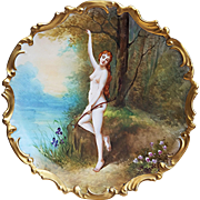 "Exceptional B & H France Limoges 1900 Hand Painted ""Diana the Huntress"" Goddess of the Hunt 12-1/4"" Rococo Scenic Nude Charger by the Listed French Artist, ""DuBois"""