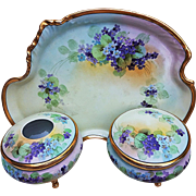 "Fabulous Limoges France & Osborne Studio of Chicago 1914 Vibrant ""Violets"" 3-Pc Floral Dresser Set by the Listed Artist, ""Asbjorn Osborne"""