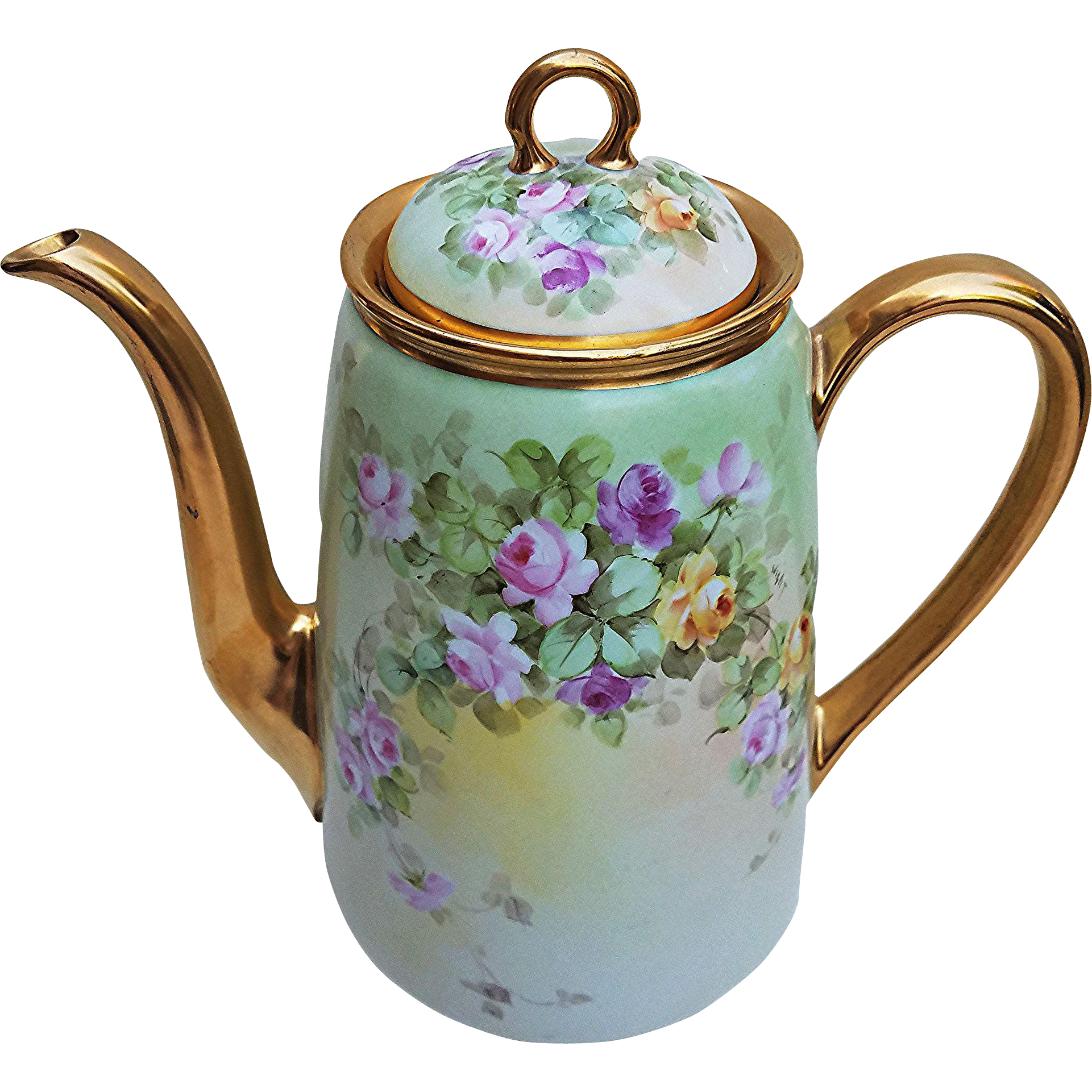 """Gorgeous Wight Art Studio 1900's Hand Painted Vibrant """"Red, Pink, & Yellow Roses"""" 9-1/2"""" Floral Tea Pot by Pickard Artist, """"Phillip Wight"""""""