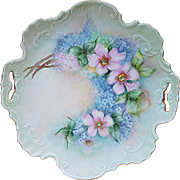 "Beautiful Bavaria 1900's Hand Painted ""Apple Blossoms & Lilacs"" 10-1/4"" Floral Plate by the Artist, ""R. Billander"""